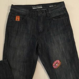 Nautica skinny jeans with custom patches